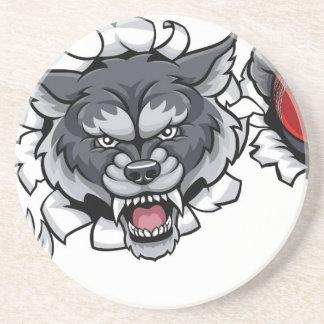 Porta-copos Mascote do grilo do lobo que quebra o fundo