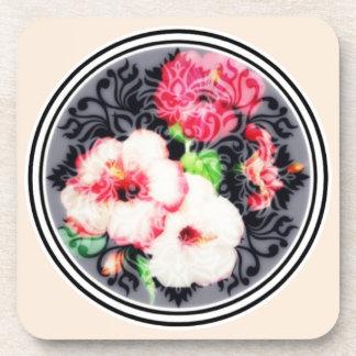 Porta-copos Medalhão retro do hibiscus no pêssego