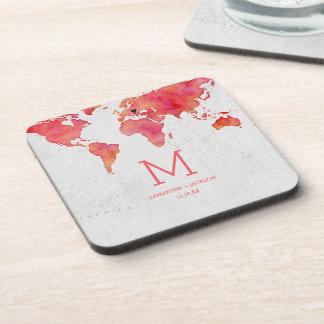 Porta Copos Monograma do casamento do destino do mapa do mundo
