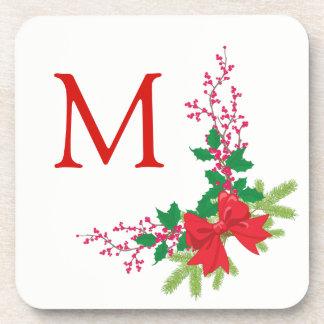 Porta Copos Monograma vermelho do Natal do azevinho do arco