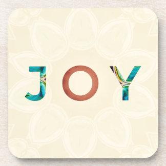 Porta-copos Natal moderno 'Joy do fundo de creme