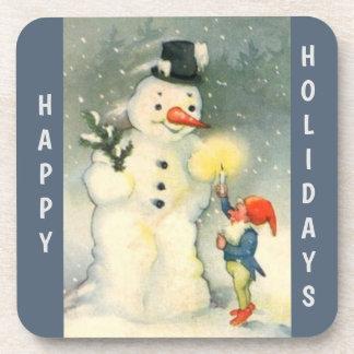 Porta Copos Natal retro do boneco de neve e do duende