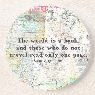 Porta-copos O mundo é umas CITAÇÕES do VIAGEM do livro