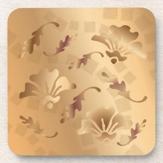 Porta-copos Ouro elegante grupo floral bege tonificado da