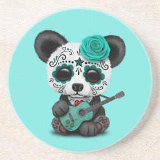 Porta-copos Panda azul do crânio do açúcar que joga a guitarra