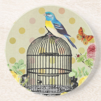 Porta-copos pássaro floral, arte, design, bonito, novo, forma