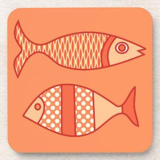 Porta Copos Peixes modernos retros, laranja coral clara &