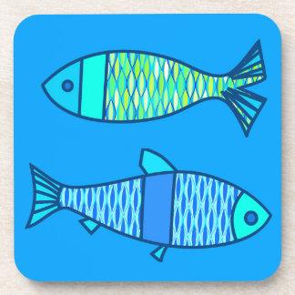 Porta-copos Peixes modernos retros, turquesa e azul Cerulean