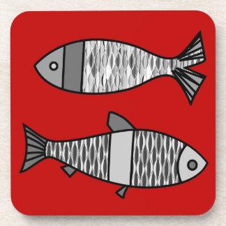 Porta Copos Peixes modernos, vermelho escuro retros e