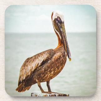 Porta Copos Pelicano bonito empoleirado sobre o oceano