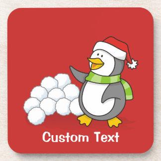 Porta Copos Pinguim do Natal com ondulação das bolas da neve