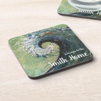 Porta Copos Pintura abstrata das belas artes da onda da praia