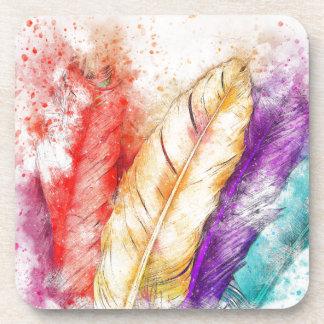 Porta-copos Pintura colorida da pena quatro como projetado