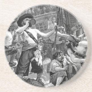 Porta-copos Piratas do vintage que lutam e que bebem no navio