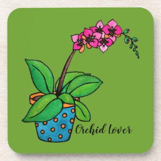 Porta-copos Planta da orquídea da aguarela no pote bonito