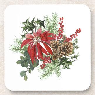 Porta Copos poinsétia moderna do feriado do vintage floral