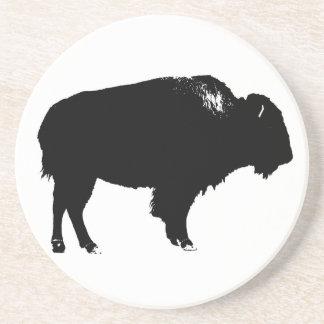 Porta-copos Pop art preto & branco da silhueta do búfalo do