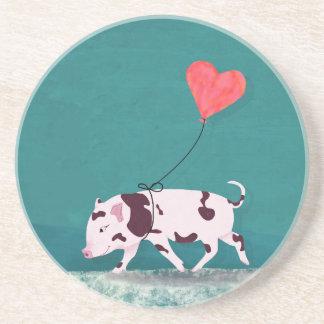 Porta-copos Porco do bebê com balão do coração