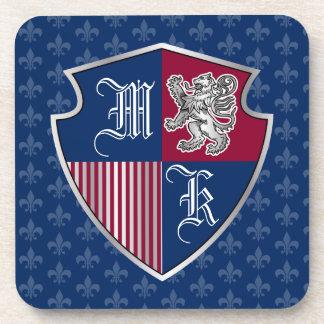 Porta Copos Protetor de prata do emblema do monograma da