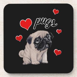 Porta-copos Pugs do amor