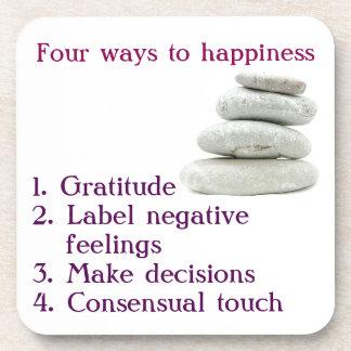 Porta-copos Quatro maneiras à felicidade
