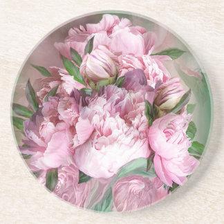 Porta copos redonda da arte cor-de-rosa da peônia