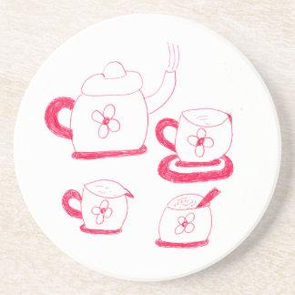 Porta copos redonda do arenito do tempo do chá