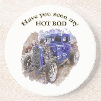 Porta-copos Roadster idoso do vintage azul com o motor para