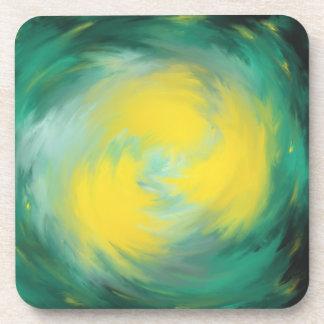 Porta Copos Roda amarela no design da arte abstracta do verde