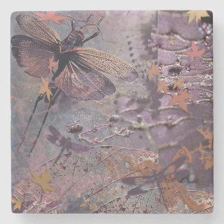 Porta copos roxa da bebida da libélula do outono porta copos de pedra