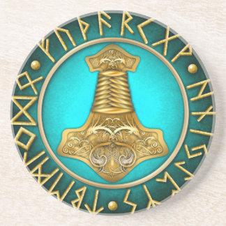 Porta-copos Runes - martelo dos Thors - cerceta
