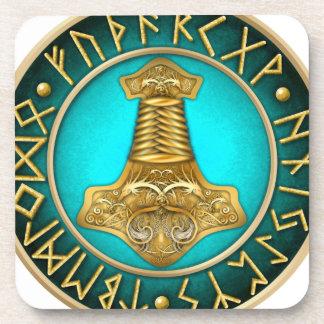Porta Copos Runes - martelo dos Thors - cerceta