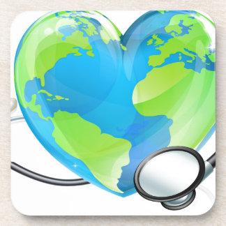 Porta-copos Saúde do globo do mundo da terra do coração do