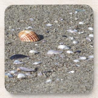 Porta Copos Seashells na areia. Fundo da praia do verão