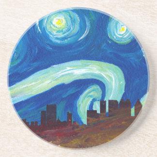 Porta-copos Silhueta da skyline de Atlanta com noite estrelado