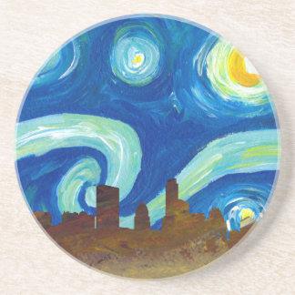 Porta-copos Silhueta da skyline de Austin com noite estrelado