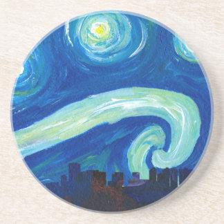 Porta-copos Silhueta da skyline de Houston com noite estrelado