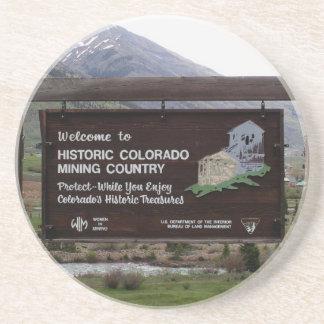 Porta-copos Sinal histórico do país da mineração de Colorado