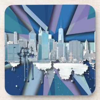 Porta Copos Skyline   3D azul da Nova Iorque