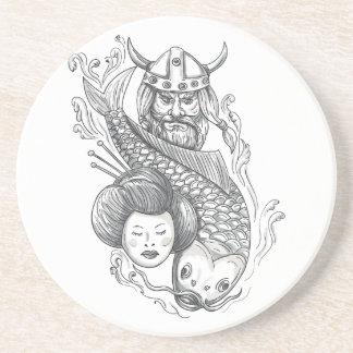 Porta-copos Tatuagem da cabeça da gueixa da carpa de Viking