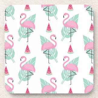 Porta Copos Teste padrão do Pastel do flamingo & da melancia
