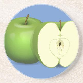 Porta copos verde da bebida do arenito da maçã