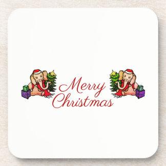 Porta-copos Vinheta bonito do Feliz Natal dos elefantes do