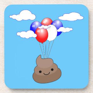 Porta Copos Vôo de Poo Emoji com os balões no céu azul