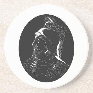 Porta-copos Woodcut de Vasco Nún ez de Balboa Conquistador