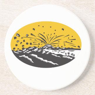 Porta-copos Woodcut do Oval da formação da ilha da erupção