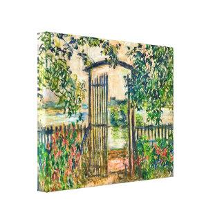 Porta de jardim de Monet em Vetheuil Impressão De Canvas Envolvidas