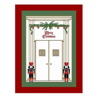 porta do Natal com nutcrackers Cartão Postal