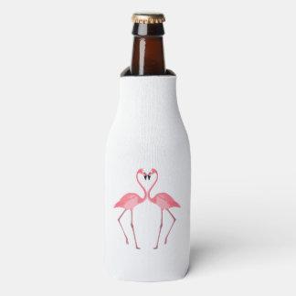 Porta-garrafa Amor cor-de-rosa bonito dos flamingos
