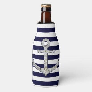 Porta-garrafa Âncora náutica do rosa branco
